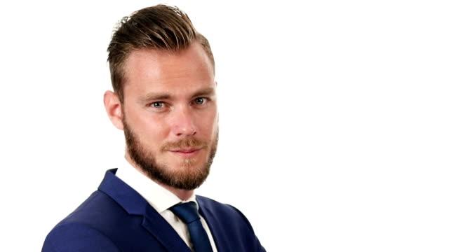 Handsome businessman in suit video