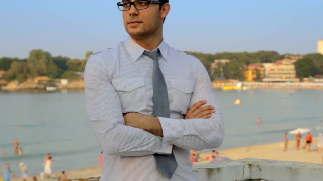 Handsome Confident Young Man Shirt Tie Beach Vacation BAckground video