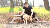 Handsome Man Enjoy Outdoor With Stafford. video