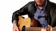 Handsome man playing guitar video