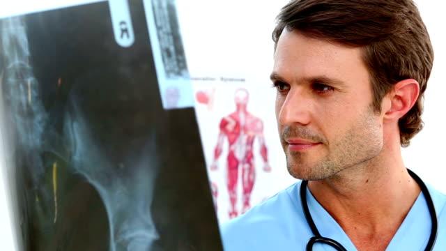 Handsome nurse examining an xray video