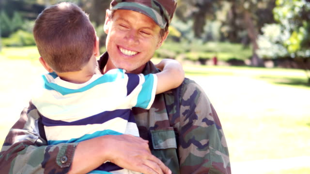 Handsome soldier reunited with his son video