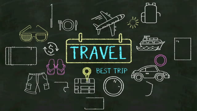 Handwriting concept of 'Travel' at chalkboard. video