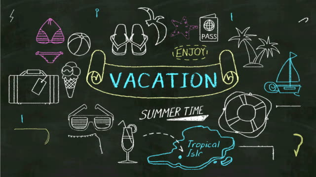 Handwriting concept of 'Vacation' at chalkboard. video