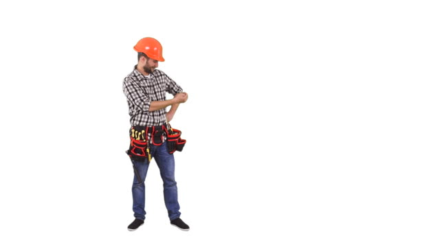 Handyman pointing on copy space video