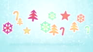 hanging christmas decoration and snowfall loopable background video