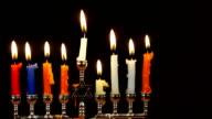 Hanukah candles celebrating the Jewish holiday video
