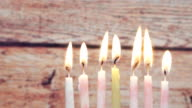 Hanukkah menorah with candles happy burning video