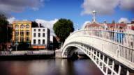 Ha'penny Bridge, Dublin, Ireland video