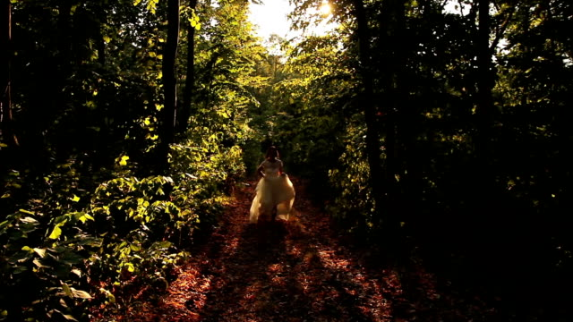 Happiness Concept Beautiful Woman Dress Running Jumping Forest video