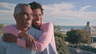 Happy African American Couple Embrace near Beach video