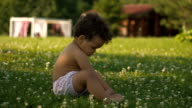 Happy Afro-American little girl learning to walk on the green grass video