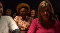 Happy audience applauding video