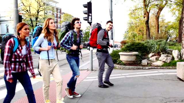 HD: Happy Backpackers Crossing The Street. video