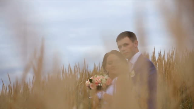 happy beautiful bride and groom on field video