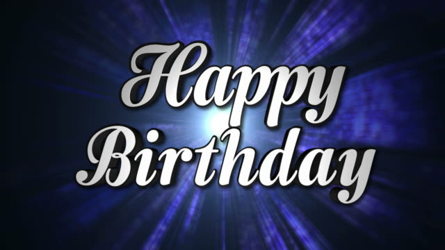 Happy Birthday Animation Text and Disco Dance Background, Zoom IN/OUT Rotation, with Alpha Channel, Loop video