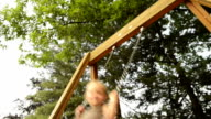 Happy blonde child on swing outdoor video HD video