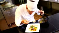 Happy chef pouring sauce onto salmon dish video