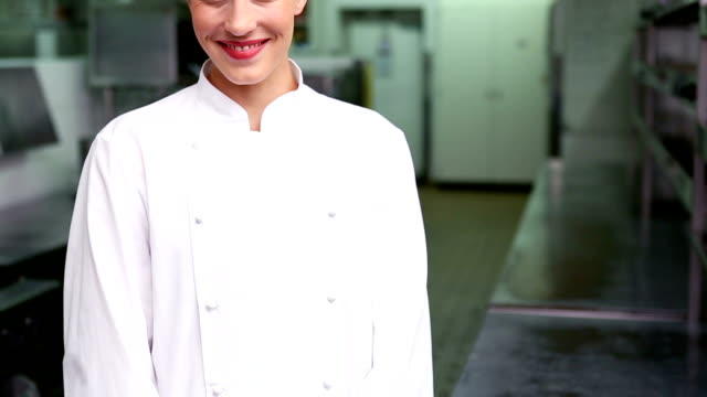 Happy chef smiling at camera video