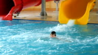 Happy Child Having Fun In Aquapark video
