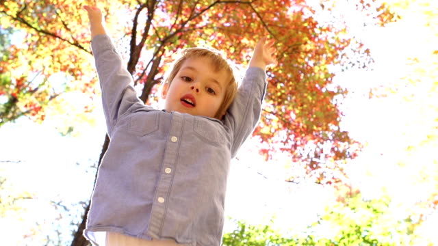Happy child jumping video