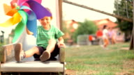 happy child playing on slide at the park video