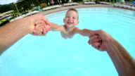 SLOW MOTION POV: Happy child playing with his father video