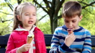 Happy children eating ice cream video