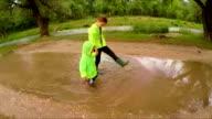Happy Children Walking In Puddles In Park video