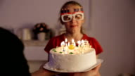 Happy children with birthday cake video