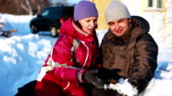 Happy Couple and her Child in Winter video