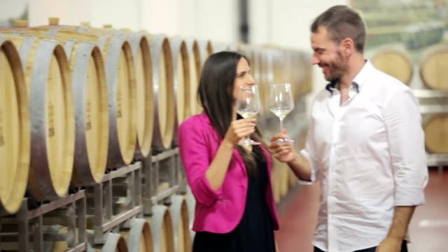 Happy couple drinking white wine in vine cellar video
