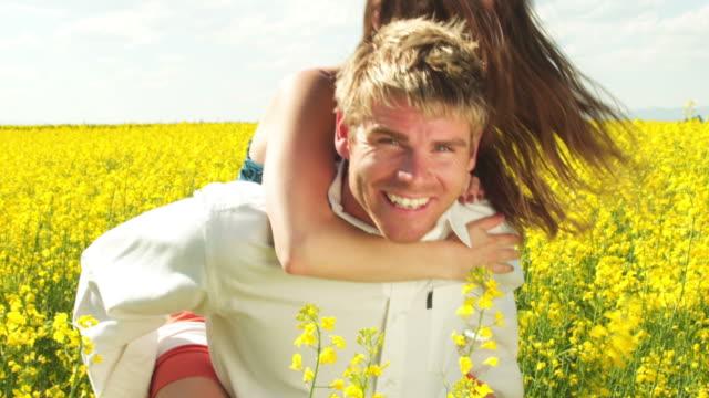 Happy couple in field video