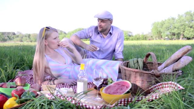happy couple on picnic video