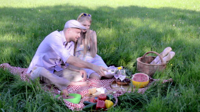 happy couple on picnic video