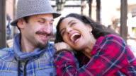 Happy couple outside video
