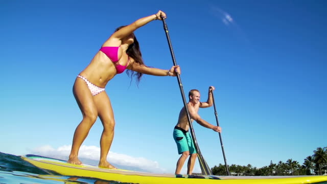 Happy Couple Stand Up Paddle Surfing, Summer Sport video
