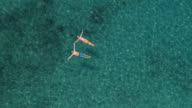 AERIAL: Happy couple swimming starfish float holding hands in crystal clear sea video