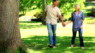 Happy couple walking in the park video