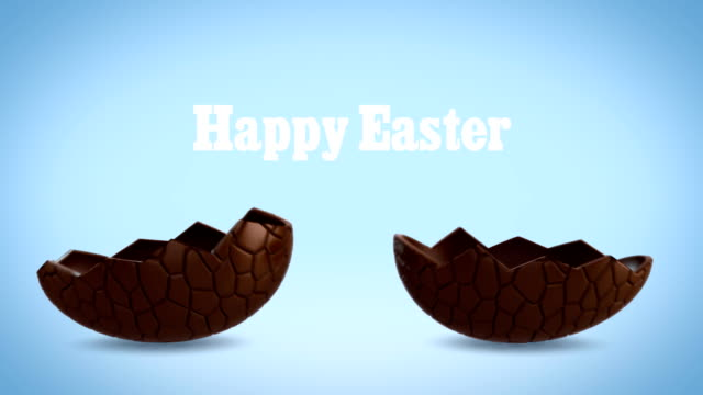Happy Easter - Chocolate egg cracking, blue BG video