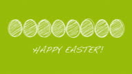 Happy Easter - Scribbled easter eggs in motion video