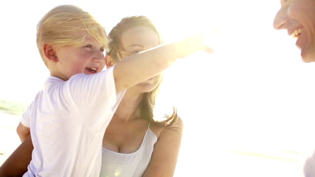 Happy Family at the beach on sunny day video