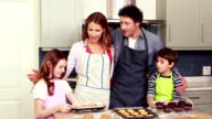 Happy family cooking together video