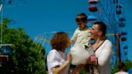 Happy Family In Amusement Park video