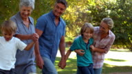 Happy family in the park video