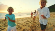Happy Family on the Beach at Sunset video