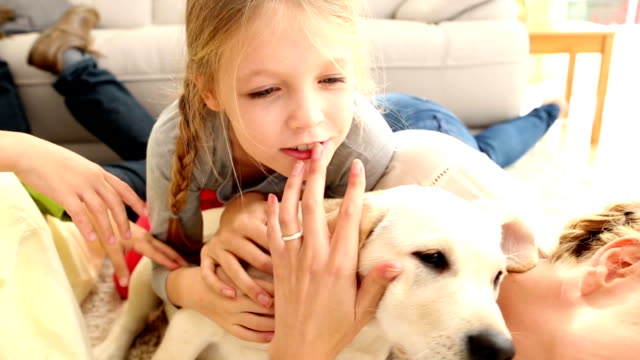 Happy family playing with labrador puppy on the rug video