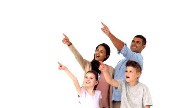 Happy family pointing on white background video
