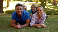 Happy family smiling at the camera in the park video
