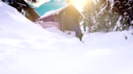 Happy family spending winter vacation in the mountain cabin with their dog video